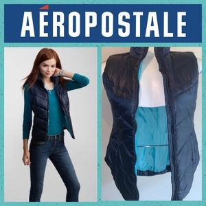 Aeropostale Solid Navy Puffy Vest LARGE
